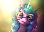 Size: 1100x799 | Tagged: safe, artist:magfen, izzy moonbow, pony, unicorn, g5, beautiful, bust, cute, female, glasses, izzybetes, looking at you, mare, open mouth, portrait, round glasses, solo