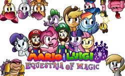 Size: 4850x2950   Tagged: safe, artist:boredrabbit, apple bloom, applejack, derpy hooves, fluttershy, pinkie pie, rainbow dash, rarity, scootaloo, spike, sweetie belle, twilight sparkle, crossover, cutie mark crusaders, luigi, mane seven, mane six, mario, mario & luigi, nintendo, rpg, simple background, white background