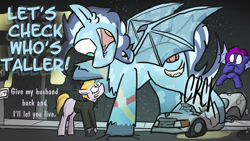 Size: 3840x2160   Tagged: safe, artist:venseyness, oc, oc only, oc:fuzz moonshadow, oc:larkspur blues, oc:miranda rights, oc:presh twirl, bat pony, crystal pony, pegasus, fusion, macro