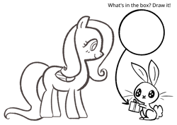 Size: 4092x2893 | Tagged: safe, artist:duckchip, angel bunny, fluttershy, rabbit, angel, animal, arrow, birthday, birthday gift, bunny ears, coloring, coloring book, coloring page, monochrome, solo