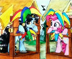 Size: 3124x2557 | Tagged: safe, artist:liaaqila, pinkie pie, earth pony, pony, unicorn, dimlight, ponyville, stocks