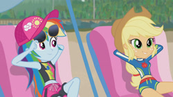 Size: 3410x1920   Tagged: safe, screencap, applejack, rainbow dash, equestria girls, equestria girls series, lost and found, applejack's hat, beach, belly button, cap, cowboy hat, female, geode of super speed, geode of super strength, hat, high res, jewelry, lounge chair, magical geodes, necklace, smiling, sunglasses