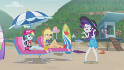 Size: 3410x1920 | Tagged: safe, screencap, applejack, rainbow dash, rarity, equestria girls, equestria girls series, lost and found, applejack's hat, beach, cowboy hat, female, geode of super speed, geode of super strength, hat, high res, jewelry, lounge chair, magical geodes, necklace, open mouth, rarity being rarity, sandals, surfboard
