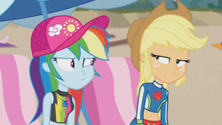 Size: 3410x1920 | Tagged: safe, screencap, applejack, rainbow dash, equestria girls, equestria girls series, lost and found, applejack's hat, beach, belly button, cap, cowboy hat, female, geode of super speed, geode of super strength, hat, high res, jewelry, looking at each other, lounge chair, magical geodes, midriff, necklace