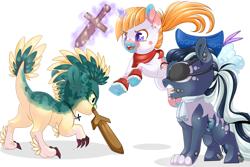 Size: 3401x2267 | Tagged: safe, artist:schokocream, oc, oc only, dracony, dragon, earth pony, hybrid, pony, unicorn, earth pony oc, eyepatch, female, fight, hat, horn, mare, mouth hold, simple background, sword, unicorn oc, weapon, white background