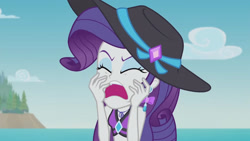 Size: 3410x1920 | Tagged: safe, screencap, rarity, equestria girls, equestria girls series, lost and found, eyes closed, female, geode of shielding, high res, jewelry, magical geodes, marshmelodrama, my ear was naked, necklace, open mouth, rarity being rarity, solo