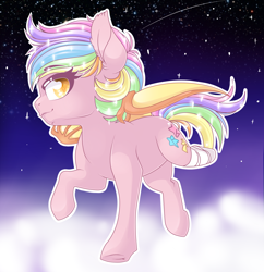 Size: 2438x2514 | Tagged: safe, artist:schokocream, oc, oc only, oc:paper stars, bat pony, pony, amputee, bat pony oc, bat wings, ethereal mane, female, flying, mare, multicolored hair, outdoors, rainbow hair, solo, starry mane, wings