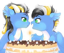 Size: 3401x2834 | Tagged: safe, artist:schokocream, oc, oc only, dragon, bust, cake, dragon oc, dragoness, duo, female, food, smiling