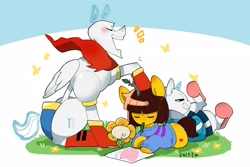 Size: 3000x2000 | Tagged: safe, artist:potetecyu_to, earth pony, pegasus, pony, bone, clothes, eyes closed, fake horn, flower, flowey, frisk, gloves, lying down, mouth hold, open mouth, papyrus (undertale), ponified, sans (undertale), shoes, sitting, skeleton, slippers, undertale, video game