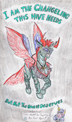 Size: 1884x3182 | Tagged: safe, artist:grimmyweirdy, pharynx, princess flurry heart, changedling, changeling, to change a changeling, chain necklace, clothes, jacket, leather jacket, movie reference, mowhawk, prince pharynx, princess emo heart, snarling