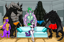 Size: 1871x1219 | Tagged: safe, artist:urhangrzerg, rarity, spike, dragon, pony, unicorn, anthro, crossover, female, male, piper perri surrounded, shipping, sparity, spyro the dragon, straight, this will end in rape