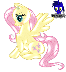Size: 3840x4154 | Tagged: safe, artist:damlanil, fluttershy, latex pony, original species, pegasus, pony, blushing, clothes, cute, cutie mark accessory, female, latex, latex suit, living suit, makeup, mare, raised hoof, rubber, shiny, shiny mane, show accurate, shyabetes, simple background, sitting, solo, spread wings, suit, transparent background, vector, wings