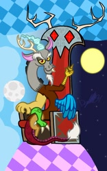 Size: 1279x2048 | Tagged: safe, artist:drquack64, discord, the return of harmony, abstract background, antlers, chair, crossed legs, day, moon, night, sun, throne
