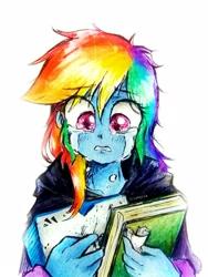 Size: 2178x2903 | Tagged: safe, artist:liaaqila, rainbow dash, crying, traditional art