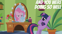 Size: 1280x720 | Tagged: safe, edit, edited screencap, editor:quoterific, screencap, pinkie pie, twilight sparkle, earth pony, pony, unicorn, green isn't your color, season 1, female, mare, mirror, unicorn twilight