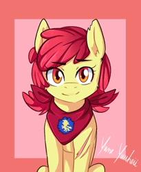 Size: 1639x2000 | Tagged: safe, artist:yumeyuuheii, apple bloom, earth pony, pony, adorabloom, cute, ear fluff, female, filly, looking at you, neckerchief, older, scar, smiling, solo, teenage apple bloom