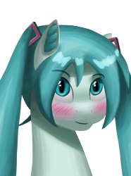 Size: 1000x1346 | Tagged: safe, artist:trotski432, anime, blushing, bust, commission, ear fluff, eyebrows, eyebrows visible through hair, female, hatsune miku, looking at you, pigtails, portrait, simple background, transparent background, vocaloid