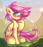 Size: 1100x1206 | Tagged: safe, artist:chaosangeldesu, fluttershy, pegasus, pony, blushing, chest fluff, cute, female, folded wings, looking at you, mare, outdoors, raised hoof, shyabetes, sitting, smiling, solo, three quarter view, wings