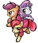 Size: 645x733 | Tagged: safe, artist:sunbusting, derpibooru exclusive, apple bloom, scootaloo, sweetie belle, pony, fighting is magic, cutie mark crusaders, female, filly, simple background, style emulation, white background