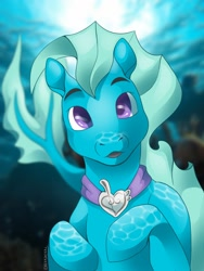 Size: 960x1280   Tagged: safe, artist:rexyjackal, oc, oc only, merpony, seapony (g4), boop, camera, commission, crepuscular rays, digital art, fish tail, flowing tail, jewelry, looking at you, male, necklace, ocean, open mouth, purple eyes, signature, solo, sun, sunlight, tail, underwater, water