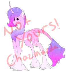 Size: 3432x3732   Tagged: safe, artist:chazmazda, twilight, oc, pony, unicorn, adoptable, adoption, chest fluff, colored, flat colors, fluffy, fullbody, hail, hoof fluff, hooves, horn, long hair, outline, sale, short hair, solo