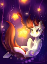 Size: 946x1280   Tagged: safe, artist:kamikifox, oc, oc only, fish, goldfish, pony, unicorn, bubble, chest fluff, commission, digital art, ear fluff, eyelashes, flowing mane, flowing tail, glowing, horn, red mane, smiling, solo, tail, underwater, water, wingding eyes, ych result, yellow eyes