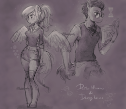 Size: 3000x2600   Tagged: safe, artist:bubblepurity, derpy hooves, doctor whooves, time turner, human, hybrid, pegasus, pony, book, bowtie, cutie mark, cutie mark background, doctorderpy, doodle, female, glasses, hooves, humanized, male, ponytail, shipping, sketch, straight, tail, wings