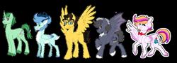 Size: 900x324   Tagged: safe, artist:nivimonster, oc, oc only, oc:nivi alien, oc:rapid hail, bat pony, deer, deer pony, original species, pegasus, peryton, unicorn, male, rule 63, simple background, stallion, transparent background