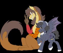 Size: 900x762   Tagged: safe, artist:nivimonster, oc, oc only, oc:pandemonium, bat pony, draconequus, male, rule 63, simple background, stallion, transparent background