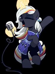 Size: 1600x2165   Tagged: safe, artist:topaythebills, oc, oc:velvet remedy, unicorn, fallout equestria, clothes, dress, magic, simple background, singing, transparent background