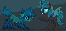 Size: 2311x1111 | Tagged: safe, artist:nxzc88, oc, oc only, oc:poison trail, changeling, original species, timber pony, timber wolf, black sclera, changelingified, commission, cutie mark, duality, fangs, glowing, glowing eyes, gray background, green background, grin, looking at you, male, raised hoof, show accurate, simple background, slit pupils, smiling, species swap, stallion, timber wolfified, two-tone background
