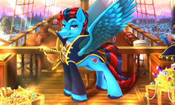 Size: 2000x1200 | Tagged: safe, artist:darksly, oc, oc only, oc:swift sail, pegasus, clothes, commission, crepuscular rays, gold, looking at you, male, ocean, pegasus oc, pirate ship, smiling, solo, treasure chest