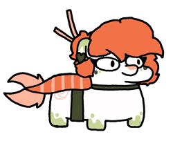 Size: 840x720   Tagged: safe, oc, oc only, merpony, ponies in food, squatpony, sushi, sushi pony, transparent