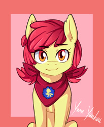 Size: 1639x2000 | Tagged: safe, artist:yumeyuuheii, edit, apple bloom, earth pony, pony, adorabloom, cute, female, filly, looking at you, neckerchief, older, smiling, solo, teenage apple bloom