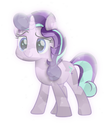 Size: 1804x2107 | Tagged: safe, artist:lincolnbrewsterfan, derpibooru exclusive, starlight glimmer, crystal pony, pony, unicorn, a horse shoe-in, my little pony: the movie, .svg available, alternate hairstyle, alternate tailstyle, beautiful, bedroom eyes, blue eyes, crystallized, female, glowing, gradient mane, gradient tail, happy, horn, inkscape, lidded eyes, looking forward, mane, mare, movie accurate, moviefied, show moviefied, simple background, smiling, smirk, solo, sparkles, standing, svg, tail, transparent background, vector