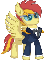 Size: 5565x7563 | Tagged: safe, artist:cyanlightning, oc, oc:galaxy strike, pegasus, pony, .svg available, absurd resolution, clothes, glasses, male, simple background, stallion, transparent background, uniform, vector