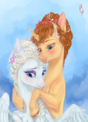 Size: 413x573   Tagged: safe, artist:coconuthound, pegasus, pony, unicorn, anna (frozen), braid, curved horn, duo, elsa, female, flower, flower in hair, frozen (movie), horn, hug, ponified, siblings, sisters