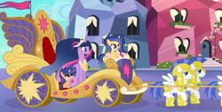 Size: 1024x517   Tagged: safe, artist:velveagicsentryyt, twilight sparkle, oc, oc:galaxy swirls, oc:velvet sentry, alicorn, pony, the last problem, female, filly, offspring, older, older twilight, parent:flash sentry, parent:twilight sparkle, parents:flashlight, princess twilight 2.0, royal guard, twilight sparkle (alicorn)
