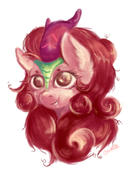 Size: 2398x3089 | Tagged: safe, artist:coco-drillo, autumn blaze, kirin, bust, colourful, ear fluff, happy, horn, looking at you, messy mane, painting, portrait, simple background, smiling, smiling at you, solo