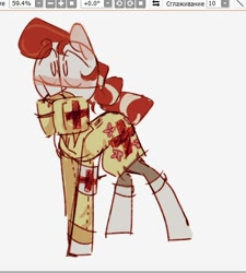 Size: 485x540 | Tagged: safe, artist:kseall_, screencap, oc, earth pony, pony, blushing, looking at you, medic, red cross, simple background, simple shading, sketch