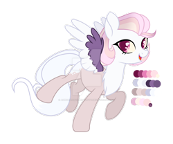 Size: 1280x1066 | Tagged: safe, artist:auroranovasentry, oc, oc:annie, hybrid, pegasus, pony, colored wings, female, interspecies offspring, mare, offspring, parent:discord, parent:princess celestia, parents:dislestia, simple background, solo, transparent background, two toned wings, wings