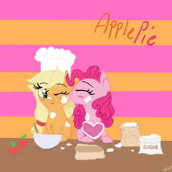Size: 1280x1280 | Tagged: safe, artist:lostsheepp, applejack, pinkie pie, earth pony, pony, apple, applepie, apron, bowl, cheek kiss, chef's hat, chest fluff, clothes, dough, female, flour, food, hat, kissing, lesbian, mare, mixing bowl, one eye closed, rolling pin, shipping, sugar (food)