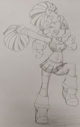 Size: 2534x4018 | Tagged: safe, artist:shadowhawx, cheerilee, equestria girls, breasts, cheerileeder, cheerleader, cleavage, clothes, looking at you, midriff, one eye closed, open mouth, pom pom, smiling, solo, sports bra, traditional art, wink