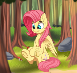 Size: 1280x1213 | Tagged: safe, artist:joaothejohn, fluttershy, insect, ladybug, pegasus, pony, chest fluff, cute, daaaaaaaaaaaw, ear fluff, female, forest, frog (hoof), grass, looking at something, looking down, mare, mushroom, open mouth, outdoors, rock, shyabetes, sitting, smiling, solo, three quarter view, tree, underhoof, wings