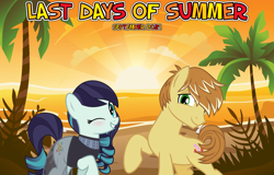 Size: 2064x1320 | Tagged: safe, anonymous artist, coloratura, feather bangs, earth pony, 2021, beach, colorabangs, female, friendship, male, ocean, one eye closed, palm tree, september, shipping, smiling, straight, summer, sunset, tree, wink, youtube link in the description