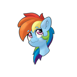 Size: 4000x4000 | Tagged: safe, artist:yelowcrom, rainbow dash, pegasus, pony, bust, cute, ear fluff, female, mare, simple background, solo, white background