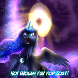 Size: 2000x2000   Tagged: safe, artist:not-ordinary-pony, derpibooru exclusive, princess luna, angry, canterlock, crossover, hellstar remina, solo, text, this will end in death