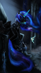 Size: 2160x3840 | Tagged: safe, artist:ilostmyashes, nightmare moon, alicorn, pony, blue mane, blue tail, crown, ethereal mane, fangs, feather, female, flowing mane, glowing, glowing horn, helmet, hoof shoes, horn, jewelry, open mouth, regalia, sitting, solo, starry mane, starry tail, sword, tail, teeth, throne, throne room, weapon, wings