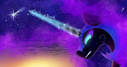 Size: 3192x1694 | Tagged: safe, artist:scarletextreme, nightmare moon, alicorn, pony, blue mane, bust, cloud, colored pupils, ethereal mane, eyelashes, female, flowing mane, frown, glowing, glowing horn, green eyes, gritted teeth, helmet, high res, horn, magic, magic aura, mare, sky, solo, starry mane, stars, sunlight, teeth