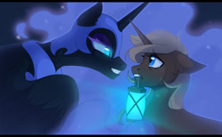 Size: 1280x787 | Tagged: safe, artist:sinnerpng, nightmare moon, oc, alicorn, pony, unicorn, blue eyes, blue mane, colored pupils, crying, ear fluff, ethereal mane, feather, female, flowing mane, glowing, helmet, horn, light, looking at each other, open mouth, simple background, sparkles, starry mane, teary eyes, teeth, wings, yellow mane